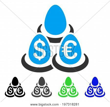 Currency Deposits flat vector pictograph. Colored currency deposits gray, black, blue, green icon versions. Flat icon style for application design.