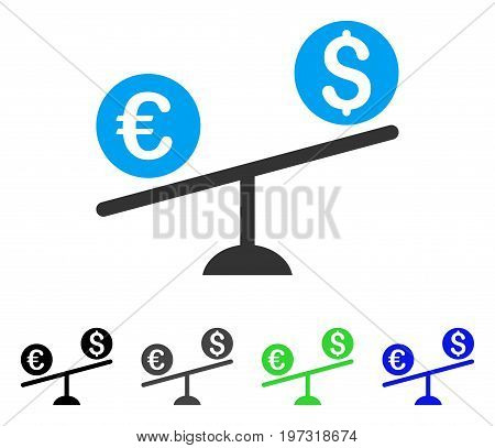 Currency Trade Swing flat vector illustration. Colored currency trade swing gray, black, blue, green icon variants. Flat icon style for web design.