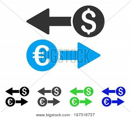 Currency Transfers flat vector pictogram. Colored currency transfers gray, black, blue, green icon versions. Flat icon style for graphic design.