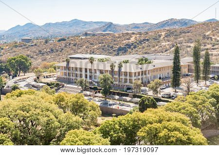 WINDHOEK NAMIBIA - JUNE 17 2017: Aerial view of the Tintenpalast (German for