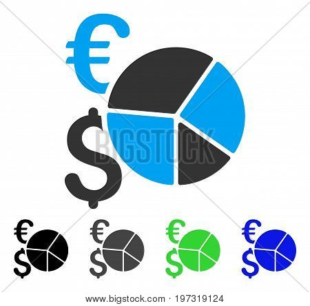 Dollar And Euro Pie Chart flat vector icon. Colored dollar and euro pie chart gray, black, blue, green icon variants. Flat icon style for application design.