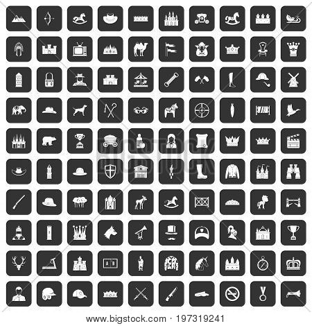 100 horsemanship icons set in black color isolated vector illustration