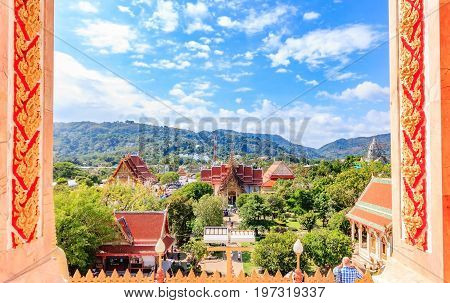 Panorama of the ancient Buddhist temple Wat Chalong Thailand Phuket