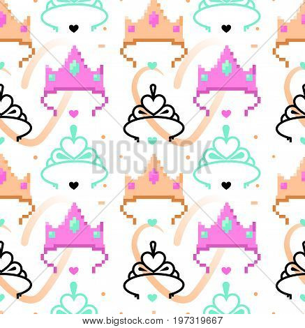 Woman symbols seamless pattern. Tiara crown. Pixel art and line art styles. Vector illustration eps 10