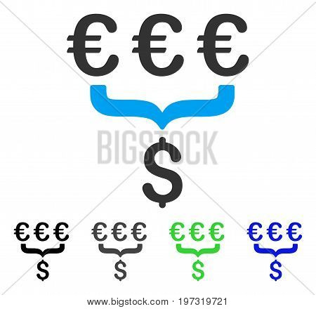 Euro Dollar Conversion Aggregator flat vector icon. Colored euro dollar conversion aggregator gray, black, blue, green pictogram variants. Flat icon style for web design.