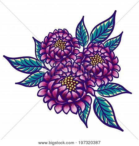 Floral hand drawn vintage flower. Fabulous purple flowers and green leaves on a white background. Tropical flower. Exotic textile botanical design. Summer design. Vector illustration.