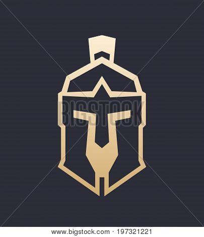 spartan helmet outline, greek warrior armor, eps 10 file, easy to edit