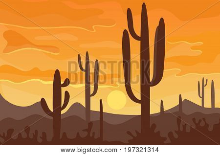 Desert mountains sandstone wilderness landscape background dry under sun hot dune scenery travel vector illustration. Environment scene sandstone africa outdoor adventure.