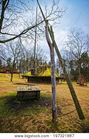 Wooden Well In Ethnographic Open Air Village Of Riga Baltic