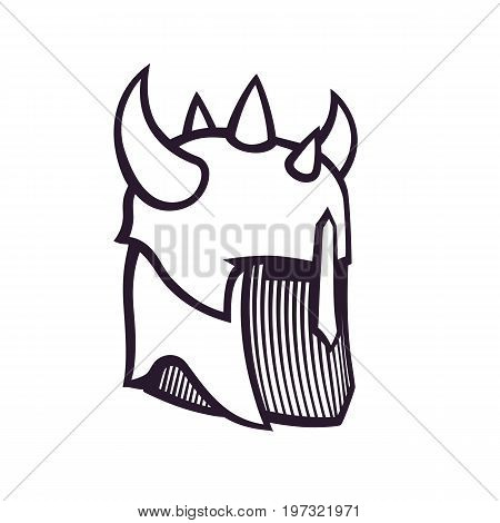 warrior helmet with horns, outline isolated on white