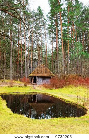 Old House With Artificial Pond At Ethnographic Village Riga Baltic