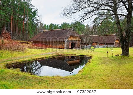 Old House With Artificial Pond In Ethnographic Village Riga Baltic