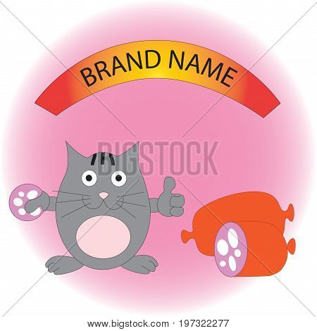 Pleased funny cat with sausage. Logo for sausages and sausage products.