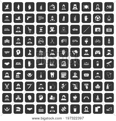 100 human resources icons set in black color isolated vector illustration