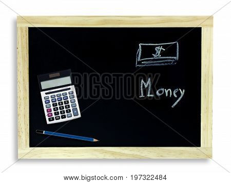 School blackboard and stationery on white concept for business money