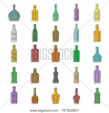 Alcohol bottles doodle icon set. Alcohol bottles doodle vector illustration for design and web isolated on white background. bottles vector object for labels, logos and advertising
