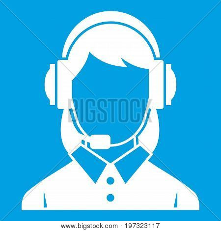 Business woman with headset icon white isolated on blue background vector illustration
