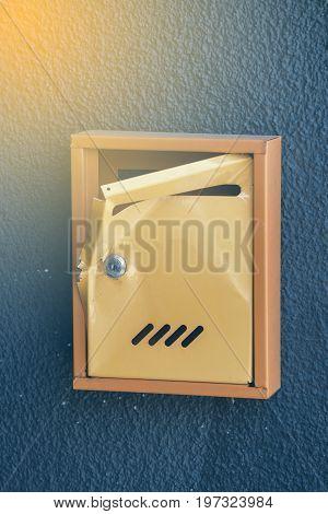 Damaged Yellow Mailbox 2