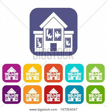 House with broken windows icons set vector illustration in flat style in colors red, blue, green, and other