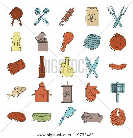 Barbeque doodle icons set. Bbq doodle vector illustration for design and web isolated on white background. Barbeque doodle vector object for labels, logos and advertising