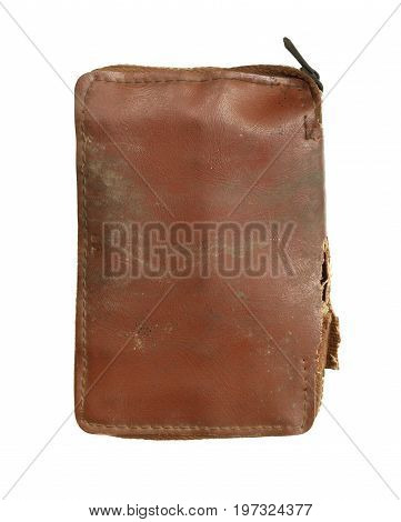 Old leather purse isolated on white background