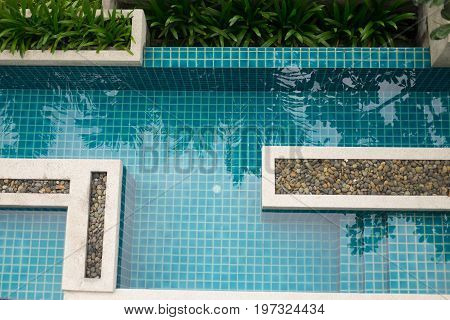 Top view of a condo swimming pool empty pool
