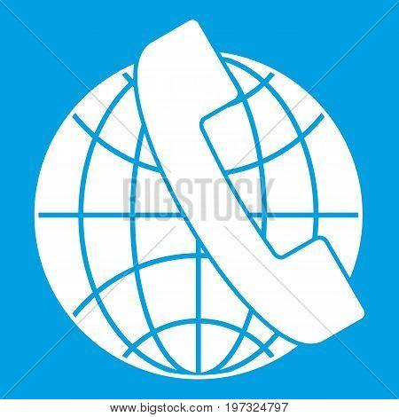 Handset and globe icon white isolated on blue background vector illustration