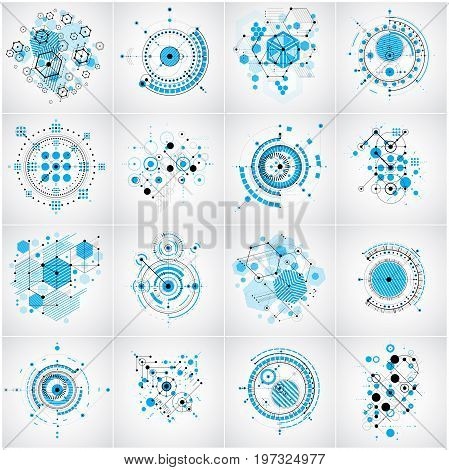 Set of vector Bauhaus abstract backgrounds made with lines grid and overlapping geometric elements circles and hexagons. Retro artworks technology style graphic templates for advertising poster.