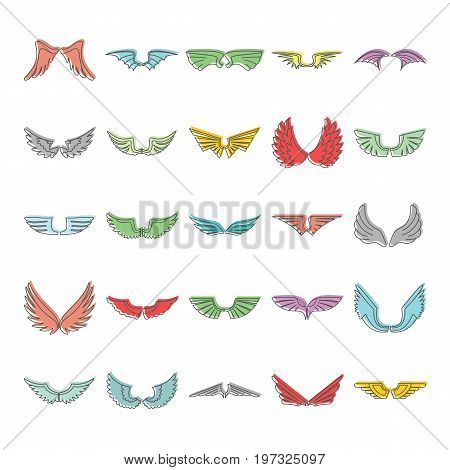 Doodle wing icons set. Wings vector illustration for design and web isolated on white background. Doodle wing vector object for labels, logos and advertising