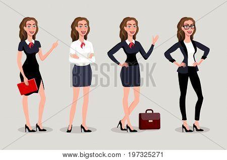 Vector Illustration Isolatede. Elegant Pretty Business Woman In Formal Clothes. Base Wardrobe, Femin