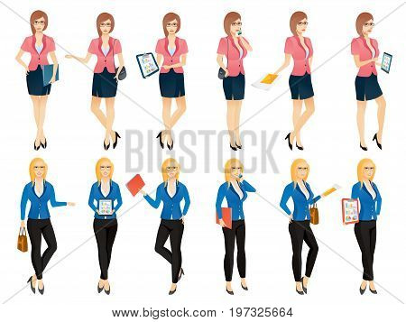 Cartoon sexy young business woman or secretary in various poses. Vector illustration set
