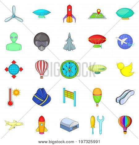 Space flight icons set. Cartoon set of 25 space flight icons for web isolated on white background