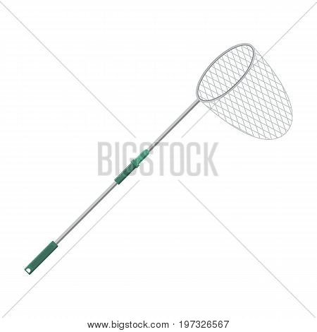 Vector illustration of landing net for fishing on white background. Fishing equipment and fish farming topics.