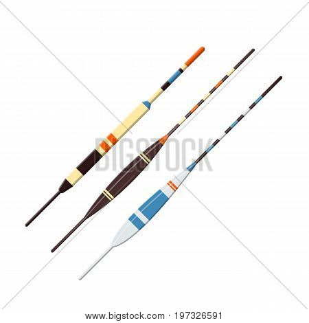 Vector illustrations set of fishing plastic floats on white background. Fishing equipment and fish farming topics.