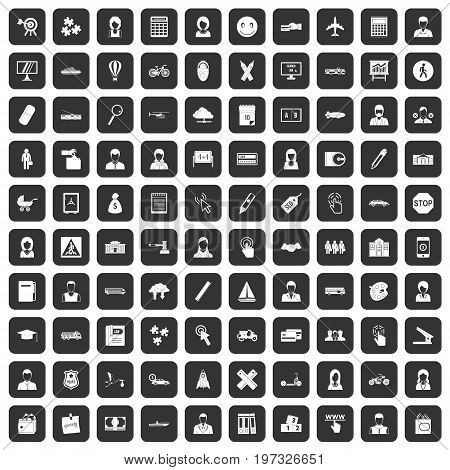 100 initiation icons set in black color isolated vector illustration