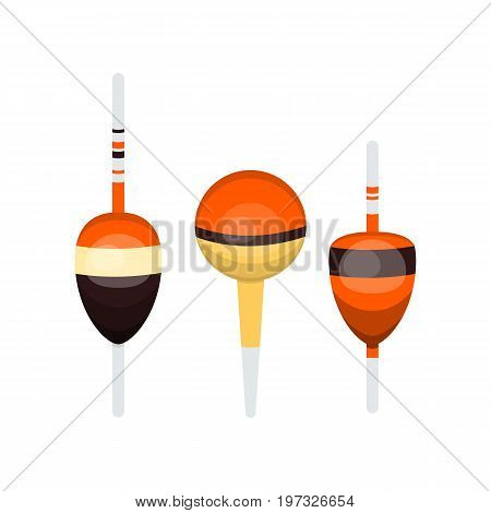 Vector illustrations set of fishing floats on white background. Fishing equipment and fish farming topics.