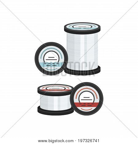 Vector illustrations set of fishing lines on white background. Fishing equipment and fish farming topics.