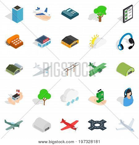 Arrival icons set. Isometric set of 25 arrival vector icons for web isolated on white background