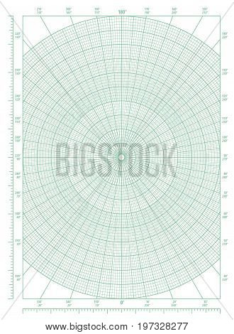 Vector green polar coordinate circular grid graph paper, graduated every 1 degree, numbered every 10 degrees in both directions