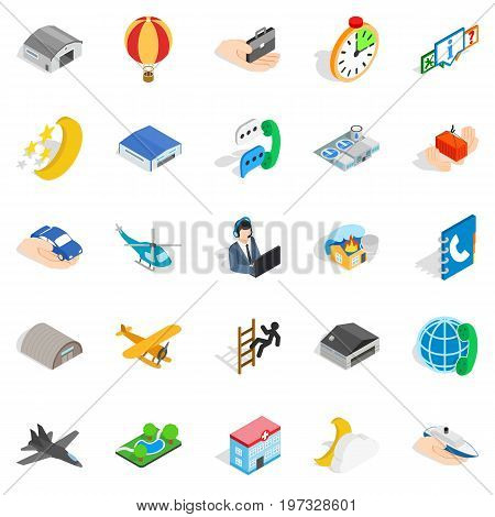 Notification center icons set. Isometric set of 25 notification center vector icons for web isolated on white background