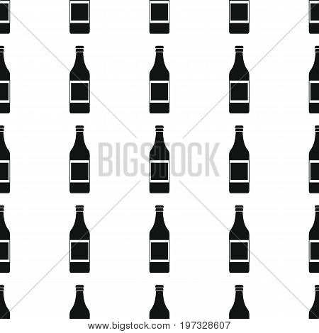 Alcohol bottles seamless pattern vector illustration background. Black silhouette alcohol stylish texture. Repeating Bottles seamless pattern background for alcohol design and web