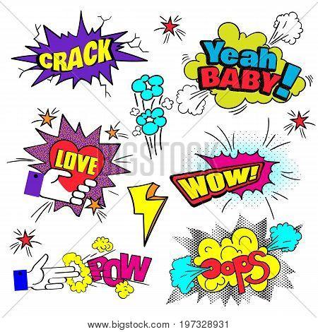 Comic Bubbles Set. Expressions Pow Oops Wow Love Crash Yeah. Pop Art. Vector illustration