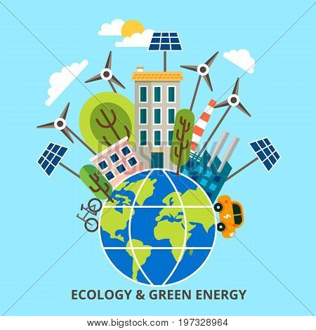 Ecology problem concept in flat stile. Vector illustration infographic concept of green energy and eco friendly world for graphic and web design.
