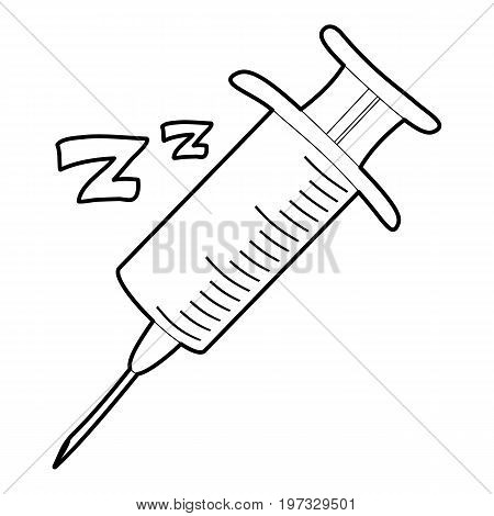 Sleeping drops injection icon. Outline illustration of sleeping drops injection vector icon for web design