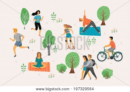 Vector illustration with active young people. Healthy lifestyle. Roller skates, running, bicycle, walk, yoga. Design element in pastel colors with textures.