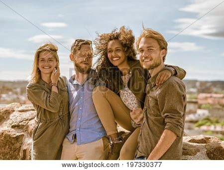 Happy Middle Eastern Young Girl With Her European Friends