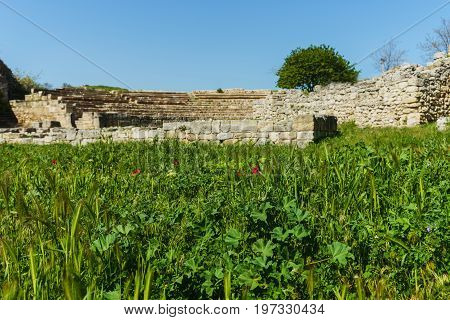 Red Poppies- Landscape Ancient City