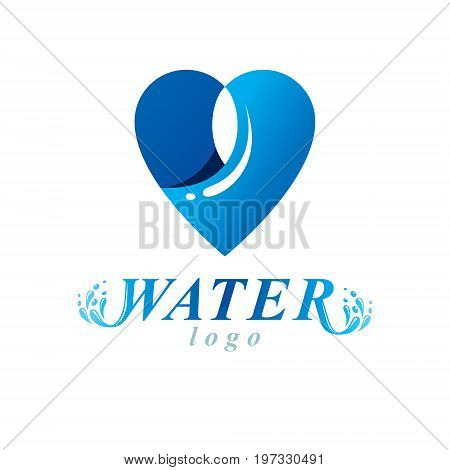 Ocean freshness theme vector symbol for use in mineral water advertising. Human and nature harmony concept.