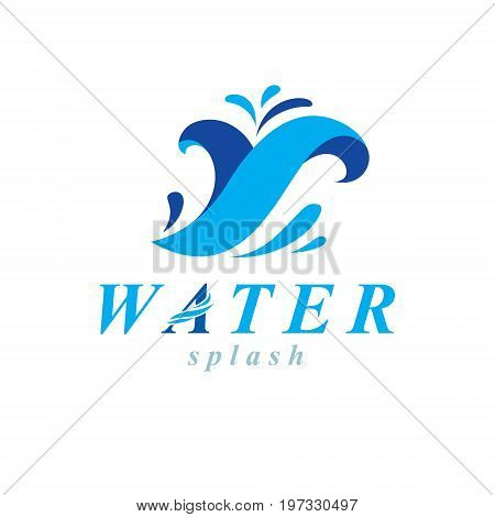 Ocean freshness theme vector symbol for use in mineral water advertising. Body cleansing concept.