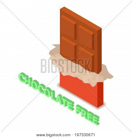 Chocolate allergen free icon. Isometric illustration of chocolate vector icon for web design
